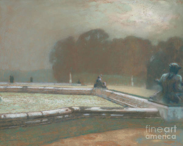 Wall Art - Pastel - Statues, The Garden At Versailles, 1900 by Henri Eugene Augustin Le Sidaner