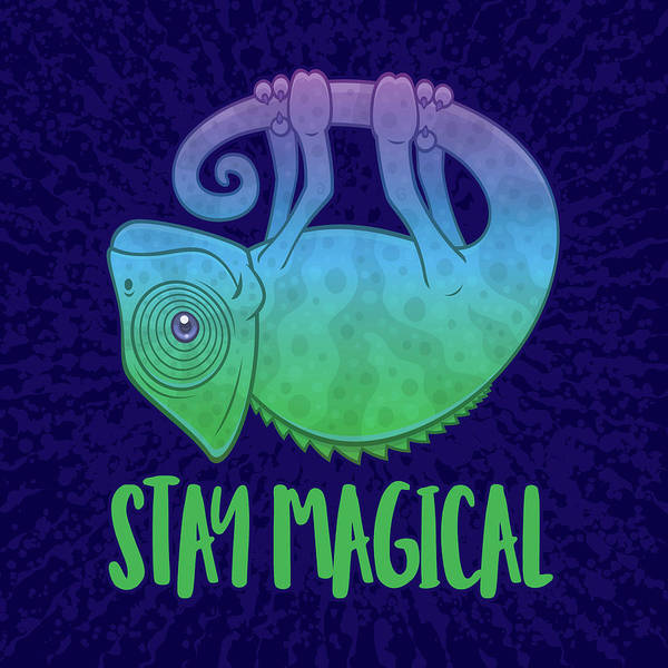 Lizards Digital Art - Stay Magical Levitating Chameleon by John Schwegel