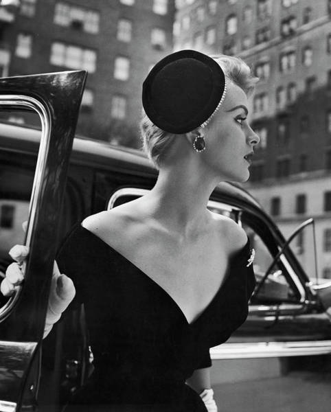 Fashion Model Photograph - Stay Put Hat, Jeweled Version Head Hold by Nina Leen