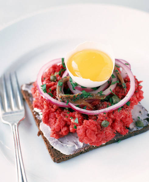 Raw Meat Photograph - Steak Tartare With Egg , Onion , And by James Baigrie