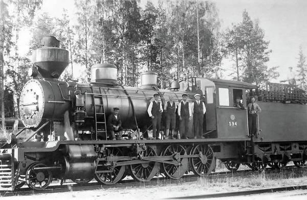 Steam Engine Locomotive 594 Finland Art Print