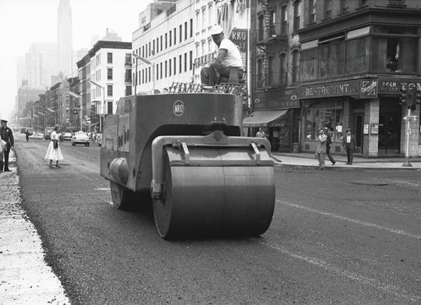 Improvement Photograph - Steam Roller On Street, B&w by George Marks