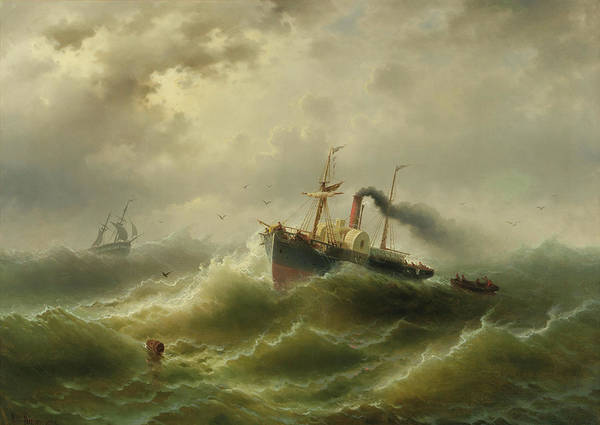Wall Art - Painting - Steamboat In A Storm On The North Sea by Albert Rieger