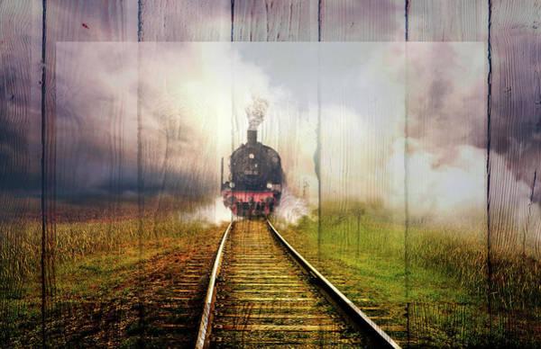 Digital Art - Steaming Down The Tracks Wood Border by Debra and Dave Vanderlaan