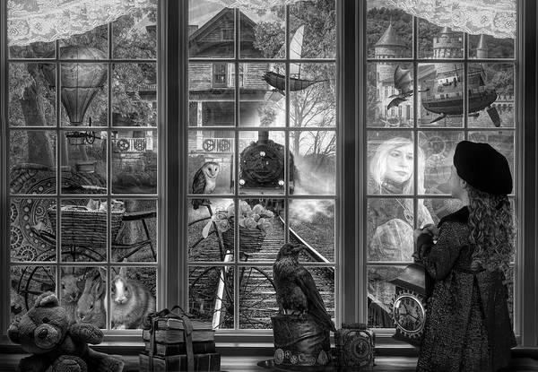 Digital Art - Steampunk Dreams In Black And White by Debra and Dave Vanderlaan