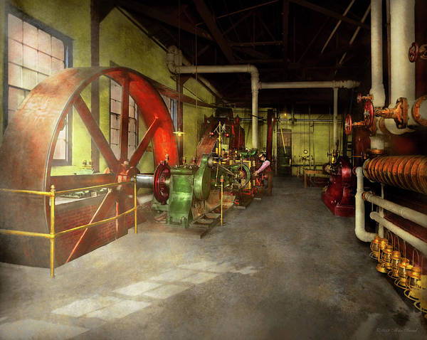 Photograph - Steampunk - Engine - Powerhouse 1905 by Mike Savad