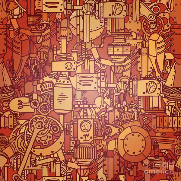 Wall Art - Digital Art - Steampunk Seamless Vector Pattern by Gorbash Varvara