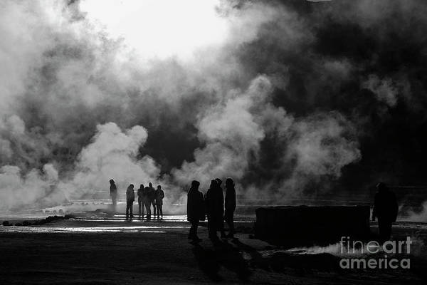Photograph - Steamy Silhouettes El Tatio Geysers Chile by James Brunker