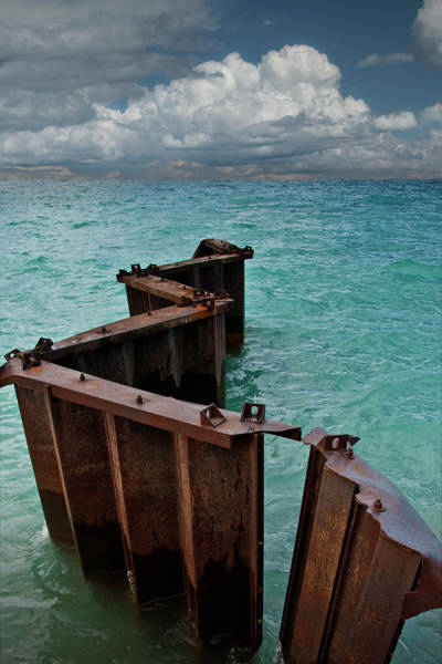 Photograph - Steel Breakwater On Lake Michigan By Point Betsie by Randall Nyhof