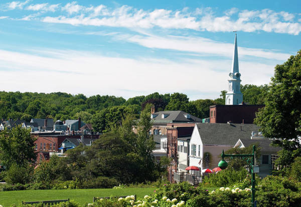 Camden Photograph - Steeple And Buildings In Camden, Me by Gregobagel