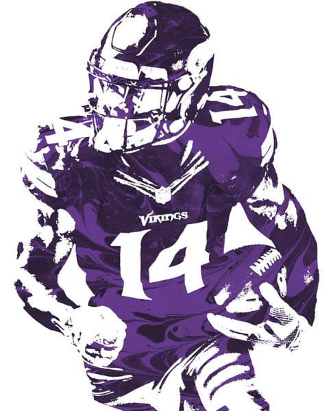Wall Art - Mixed Media - Stefon Diggs Minnesota Vikings Pixel Art 100 by Joe Hamilton