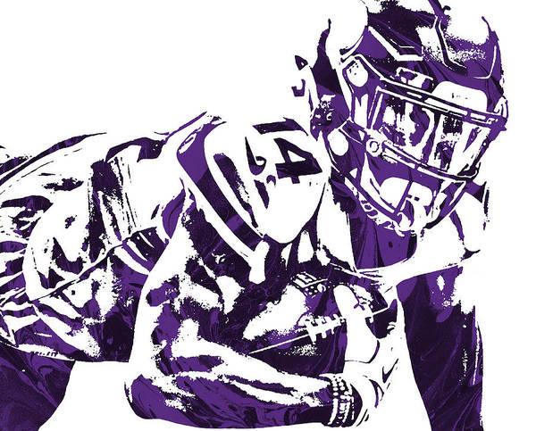 Wall Art - Mixed Media - Stefon Diggs Minnesota Vikings Pixel Art 25 by Joe Hamilton