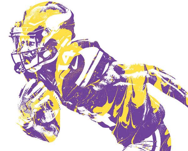 Wall Art - Mixed Media - Stefon Diggs Minnesota Vikings Pixel Art 40 by Joe Hamilton