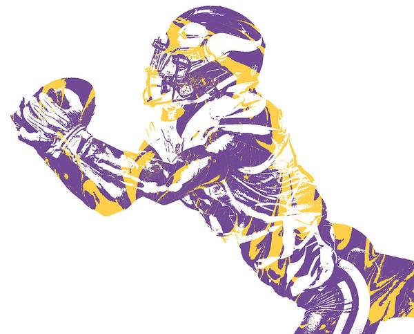 Wall Art - Mixed Media - Stefon Diggs Minnesota Vikings Pixel Art 41 by Joe Hamilton