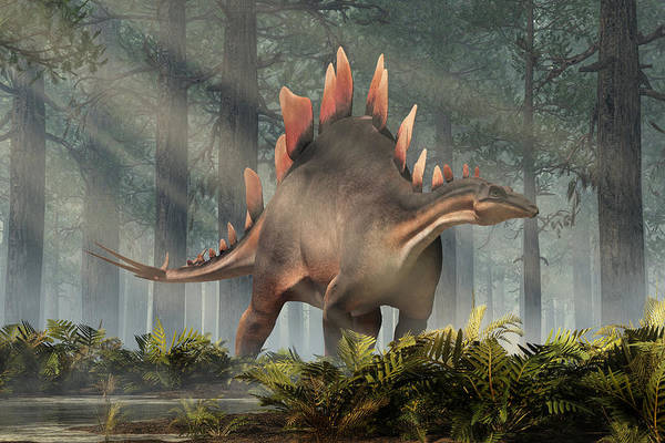 Digital Art - Stegosaurus In A Forest by Daniel Eskridge