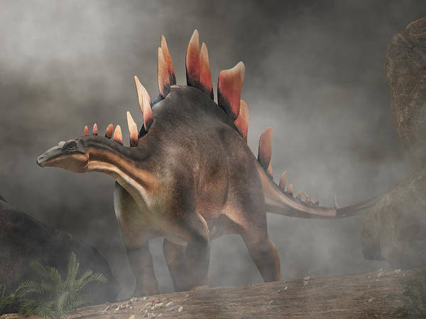 Digital Art - Stegosaurus In Fog by Daniel Eskridge