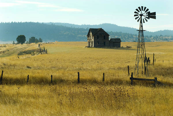 Ranch Photograph - Steinbeck Homestead W Windmill And Fence by Garyalvis