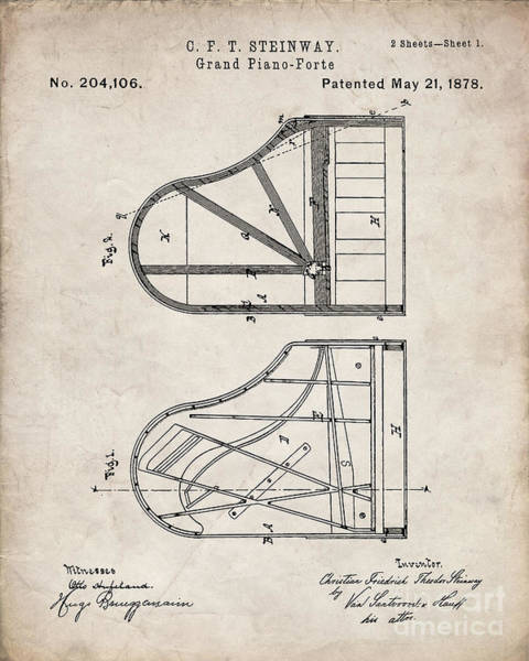 Grand Piano Digital Art - Steinway Grand Piano Patent, Piano Player Art - Antique Vintage by Patent Press