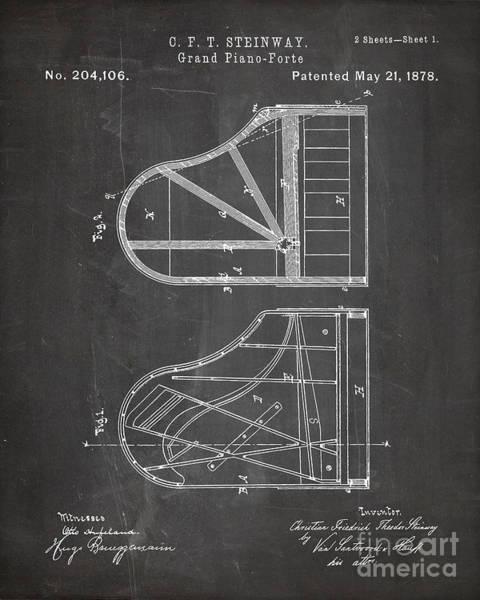 Grand Piano Digital Art - Steinway Grand Piano Patent, Piano Player Art - Chalkboard by Patent Press