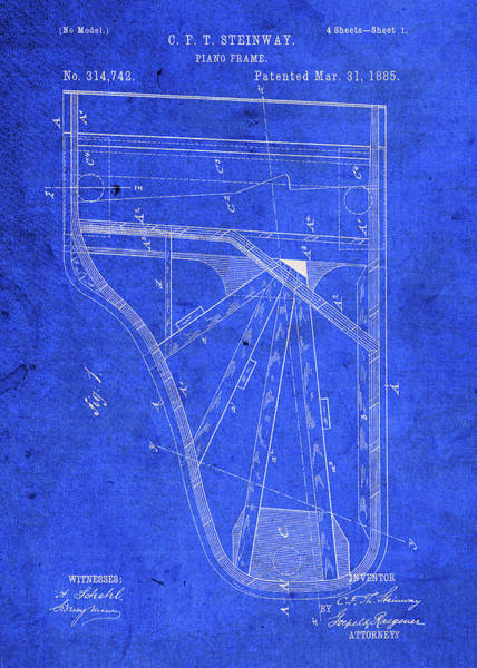 Patent Mixed Media - Steinway Piano Vintage Patent Blueprint by Design Turnpike