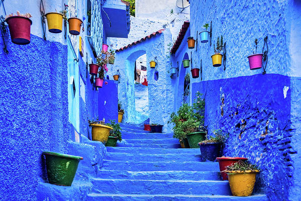 Photograph - Steps And Flower Pots - Chefchaouen - Morocco by Stuart Litoff