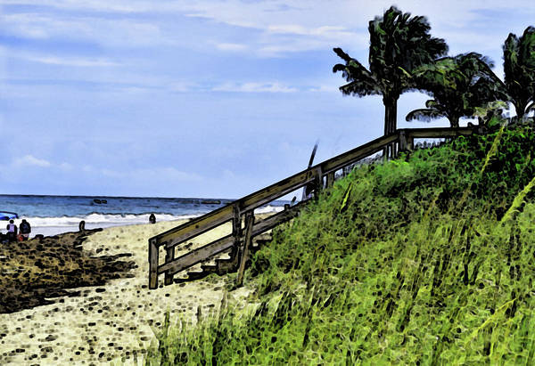 Wall Art - Photograph - Steps From The Beach Stylized by Maria Keady