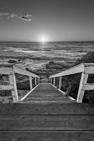 Stairs Wall Art - Photograph - Steps To The Sun  Black And White by Peter Tellone