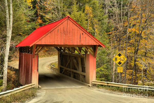 Photograph - Sterling Brook Red Covered Bridge by Adam Jewell