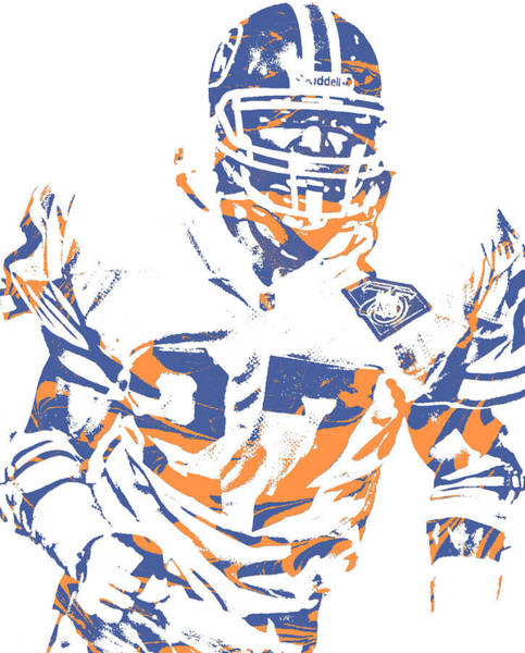 Wall Art - Mixed Media - Steve Atwater Denver Broncos Pixel Art 1 by Joe Hamilton