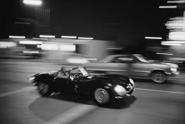 Motion Photograph - Steve Mcqueen Driving Sunset Strip by John Dominis