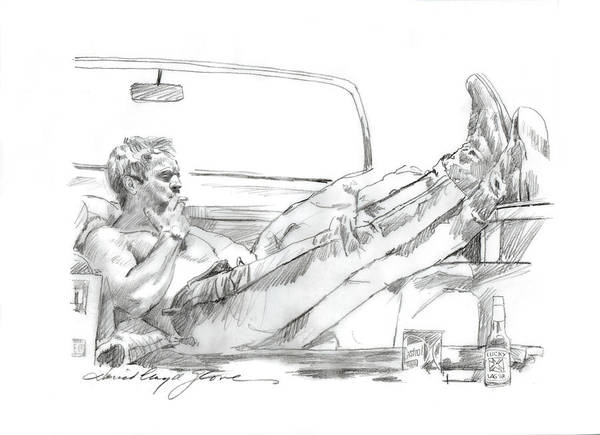 Drawing - Steve Mcqueen Smoke Break by David Lloyd Glover