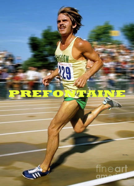 1972 Mixed Media - Steve Prefontaine, The Legend, Oregon Ducks by Thomas Pollart