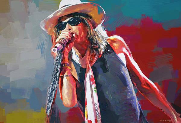 Wall Art - Mixed Media - Steven Tyler Aerosmith by Mal Bray