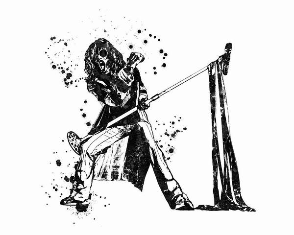 Steven Tyler Painting - Steven Tyler Microphone Aerosmith Black And White Watercolor 01 by JESP Art and Decor