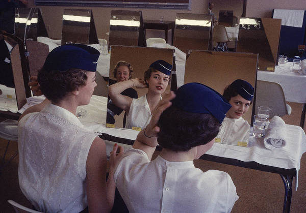 1958 Photograph - Stewardesses In Training Look Into by Peter Stackpole