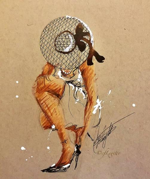 Pump Drawing - Stiletto by C F Legette