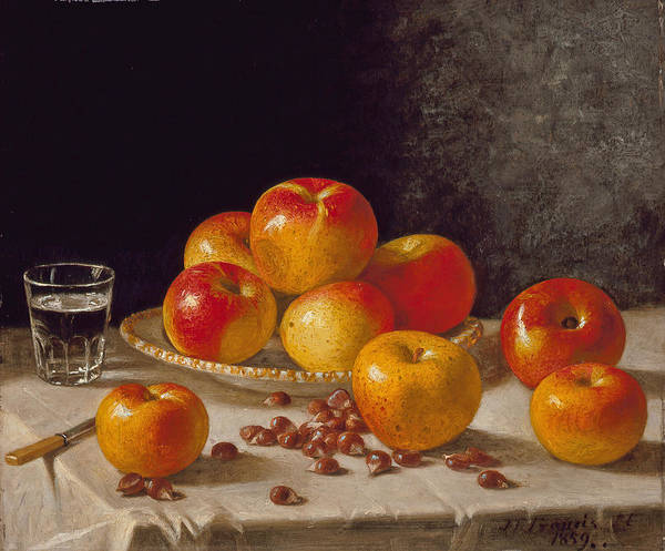Painting - Still Life, Apples And Chestnuts by John F Francis