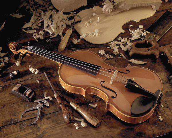 Craftsperson Photograph - Still Life Of Completed Violin, Violin by Martin Fox