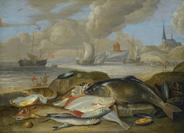 Painting -  Still Life Of Fish In A Harbor Landscape, Possibly An Allegory Of The Element Of Water by Jan van Kessel the Elder