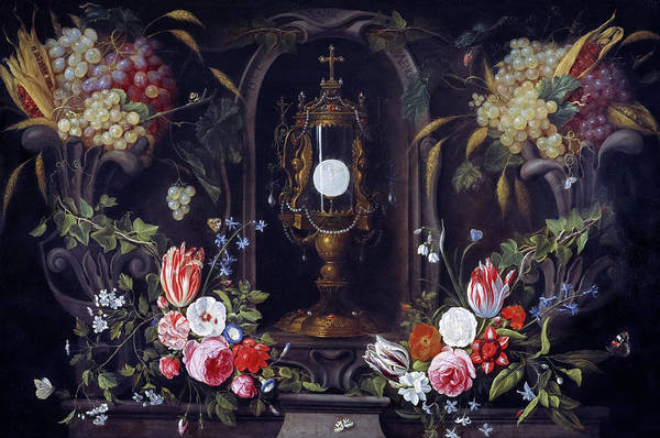 Wall Art - Painting - Still Life Of Flowers And Grapes Encircling A Monstrance In A Niche, 1670 by Jan van Kessel
