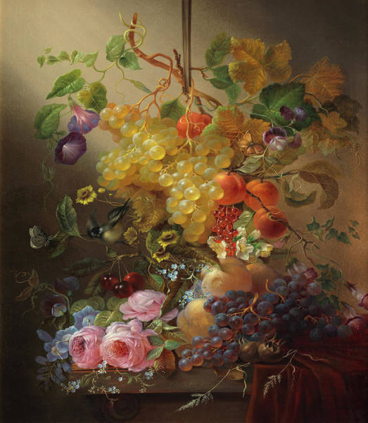 Tulip Bloom Painting - Still Life Of Flowers And Grapes On A Ledge by Jean-Baptiste Robie