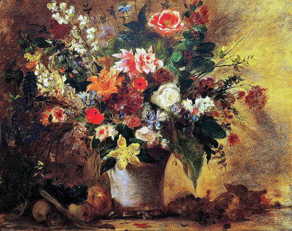 Wall Art - Painting - Still-life Of Flowers - Digital Remastered Edition by Eugene Delacroix