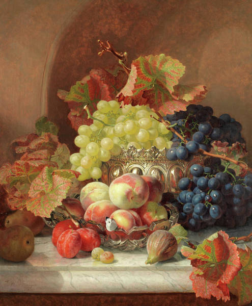 Wall Art - Painting - Still Life Of Fruit On A Marble Ledge by Eloise Harriet Stannard