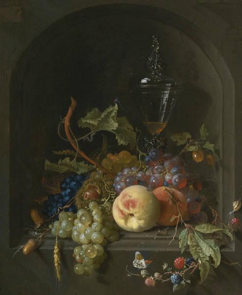 Painting - Still Life Of Grapes, Peaches, Blackberries, Acorns, Prickly Fruit by Jan Davidsz de Heem