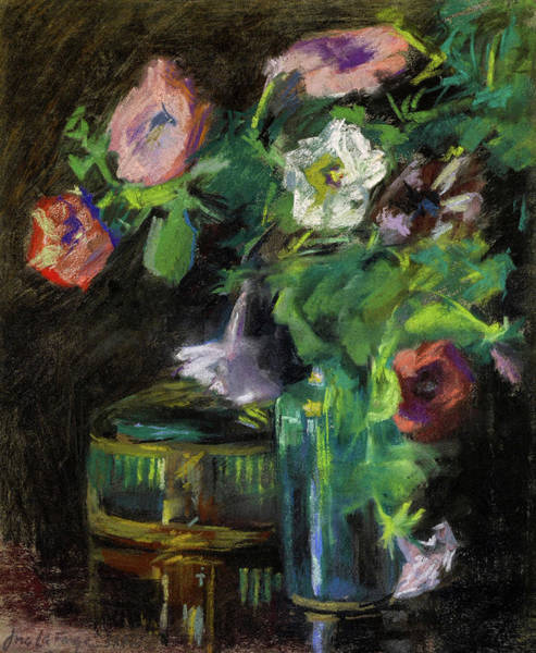 Wall Art - Painting - Still Life Of Petunias In A Glass Vase, 1884 by John La Farge