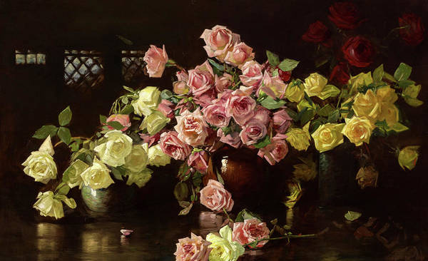 Wall Art - Painting - Still Life, Roses by Joseph DeCamp