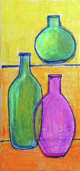 Wall Art - Painting - Still Life Three Bottles by Asha Sudhaker Shenoy