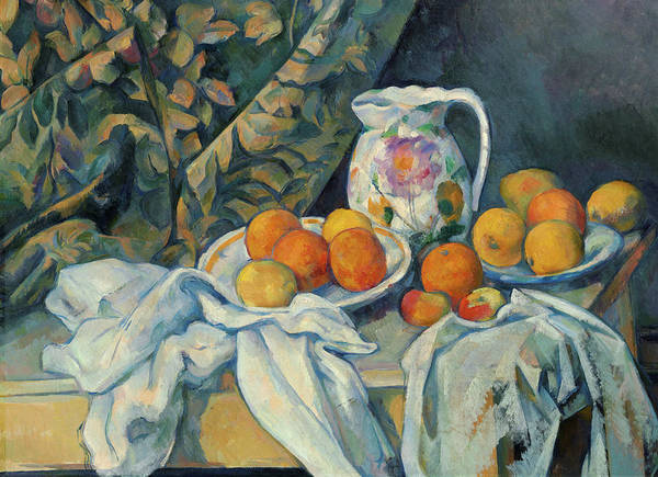 Wall Art - Painting - Still Life With A Curtain, 1895 by Paul Cezanne