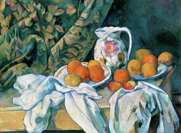 Persimmon Painting - Still Life With A Curtain - Digital Remastered Edition by Paul Cezanne