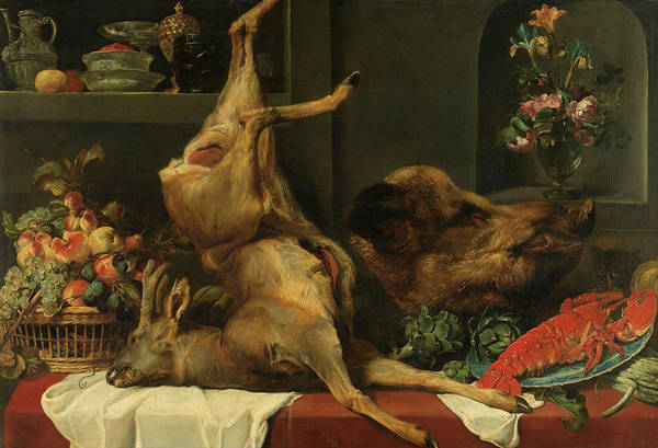 Wall Art - Painting - Still Life With A Deer, A Boar's Head, Fruits And Flowers, 1657 by Frans Snijders